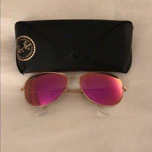 Pink Mirrored Ray Ban Aviator Sunglasses